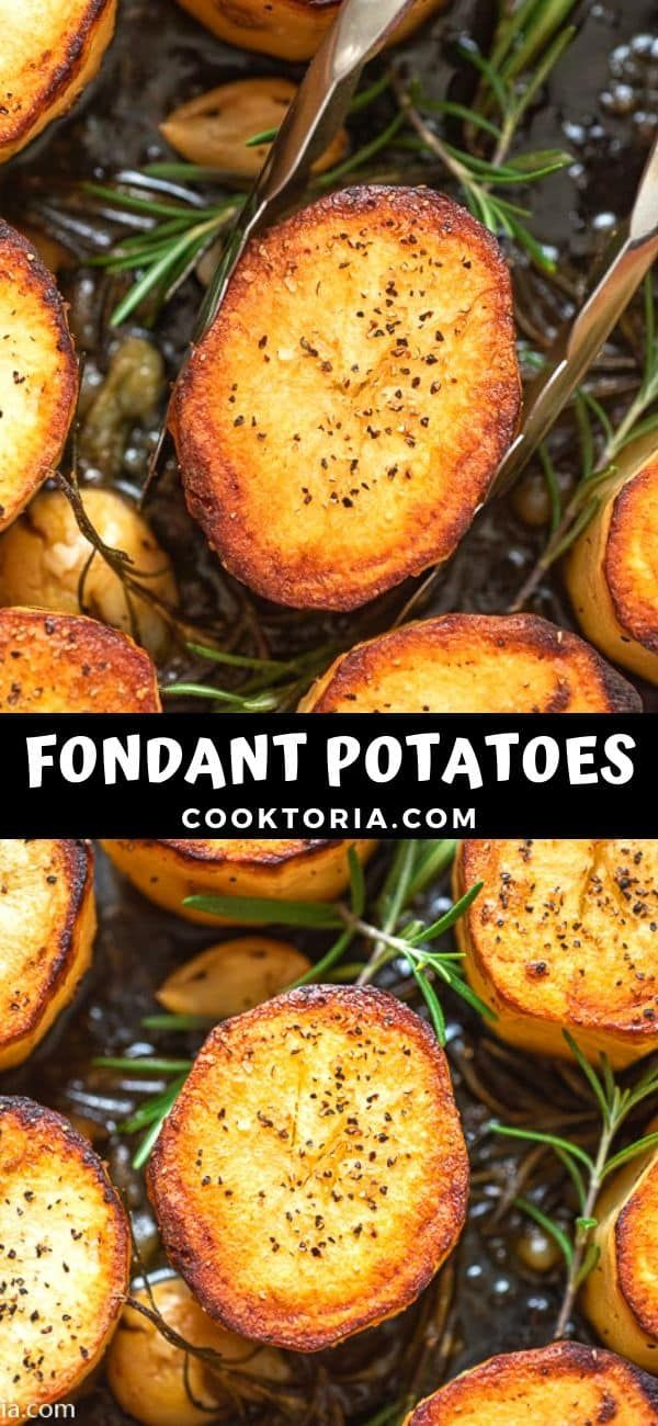 Crispy on the outside tender and creamy on the inside cooked with butter and a hint of garlic these Rosemary Fondant Potatoes make simple yet elegant side dish  FOLLOW Co...