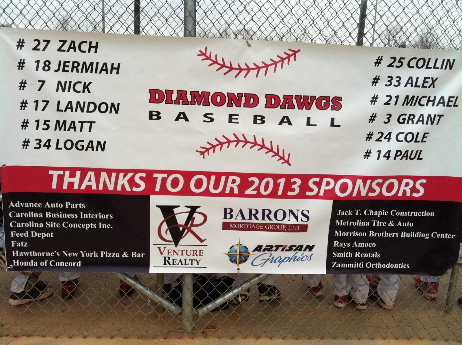 Diamond Dawgs Baseball sponsor banner. | Exterior Signs ...