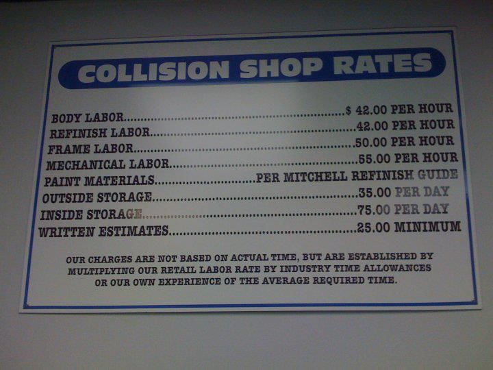 Auto Body Shop Rates Sign Auto Body Shop The Body Shop Shop Signage