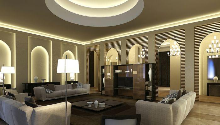 Deko Orientalisch Großer Raum Lampen Sofas Tisch Regal Schrank ... Deko Wohnzimmer Regal