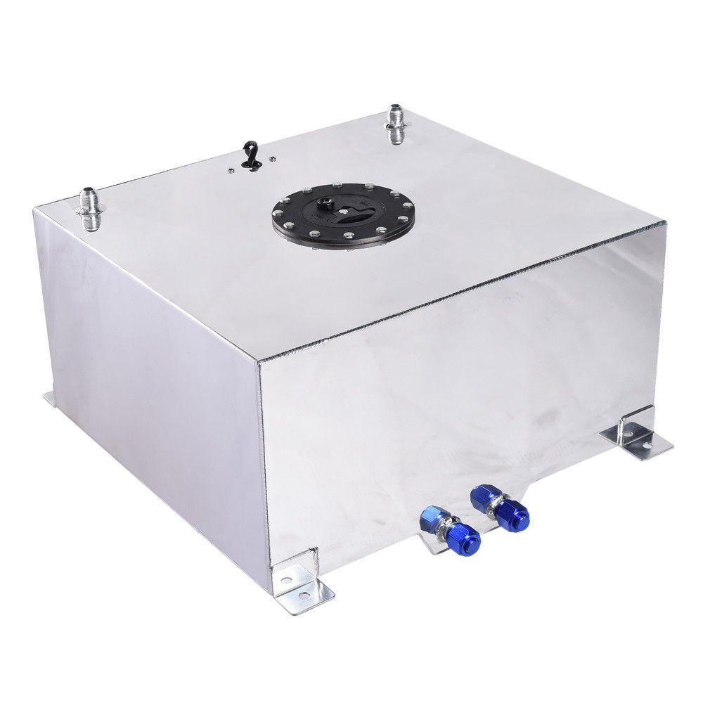 15 Gallon Race Drift Polished Aluminum Fuel Cell Tank /& Level Sender Silver