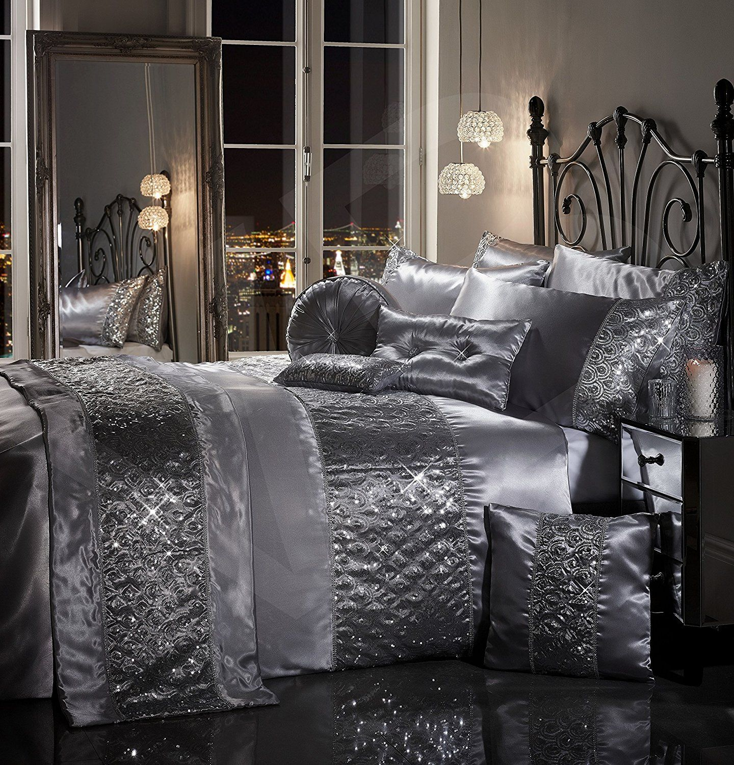Sparkle Sequin Luxury Diamante Bedding Bedroom Collection By Viceroybedding Silver Grey Super King Duvet C
