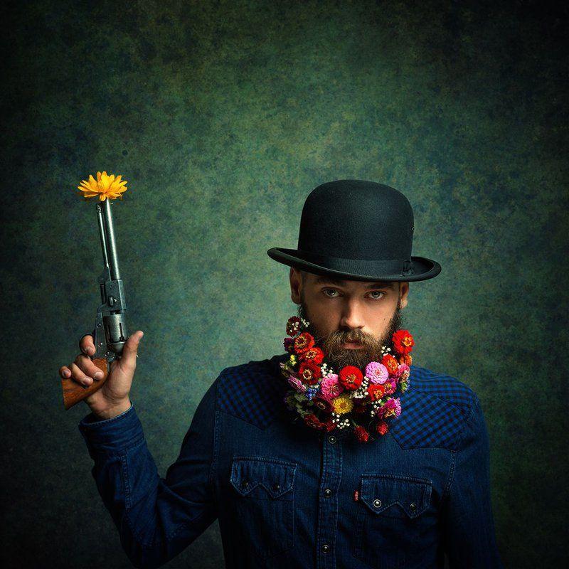 Flower Power Portrait Of A Flower Bearded Male In 2020 Flower Beard Flower Power Portrait
