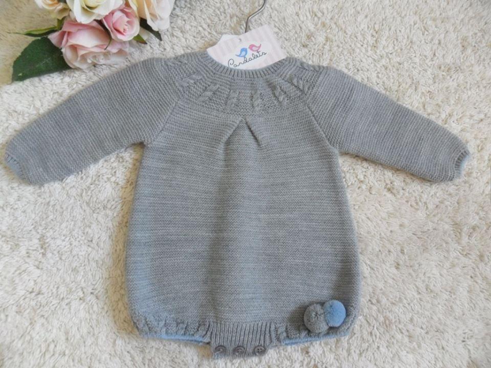 PELELE GRIS CON POMPONES   Pardalets - Ropa para tu bebe