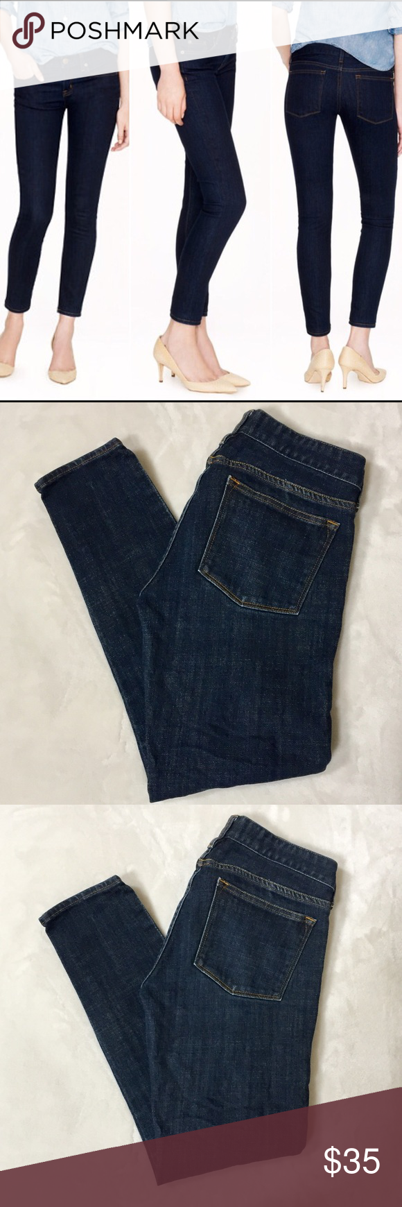 "J Crew Toothpick Skinny Jeans in Classic Rinse Size 26 J Crew Toothpick Jeans in ""Classic Rinse"", which is a dark classic Rinse. In very good preowned condition with no flaws. Size 26. ⚓️No trades or holds. I accept reasonable offers unless the item is priced at $8 or less and then the price is FIRM. I only negotiate through the offer button. I do not model. I ship within two business days of your order. I only use Posh. 🚭🐩B4 J. Crew Jeans Skinny"