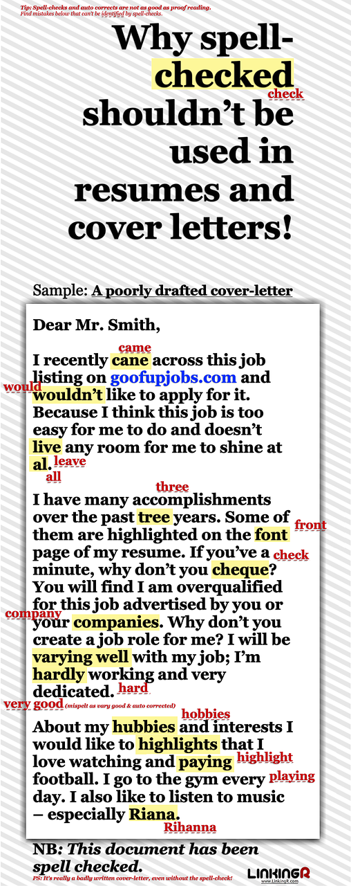 Why Spell Check Shouldnt Be Used In Resumes And Cover Letters