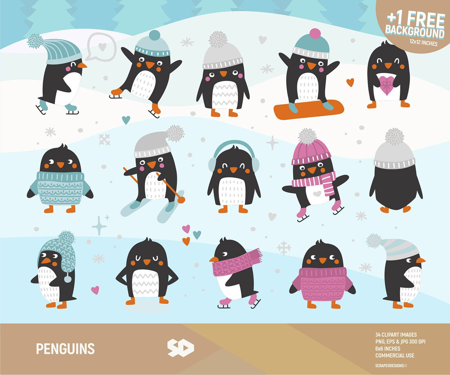 penguins clipart penguin clip art winter clipart snow background scarfs hats snowflakes ice skate ski snowboard commercial use  [ 1500 x 1250 Pixel ]