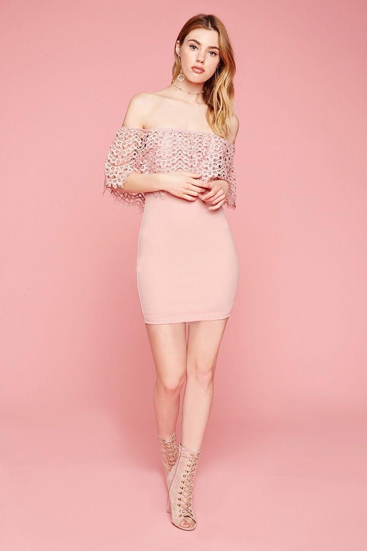 A knit dress featuring an off-the-shoulder design, scalloped crochet ...