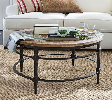 Pin By Monique Diekroeger On Sameer In 2020 Coffee Table Pottery Barn Coffee Table Round Wood Coffee Table