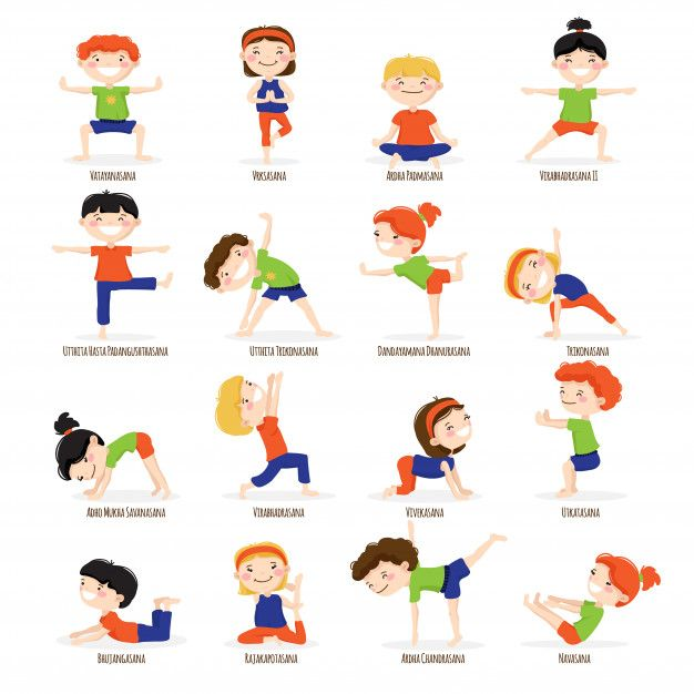 Download Cute Children Boys And Girls In Top Yoga Asanas Poses Cartoon Icons Collection Set for free