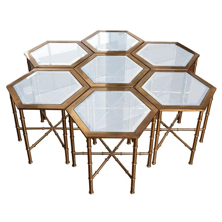 Aparte Side Table.Set Of Seven Faux Bamboo Brass Hexagonal Tables By