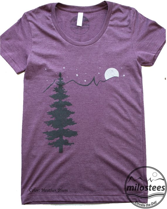 0123cdae Nature T-shirt, simple tree moon and stars design, print on grey silky  fabric by American Apparel, m