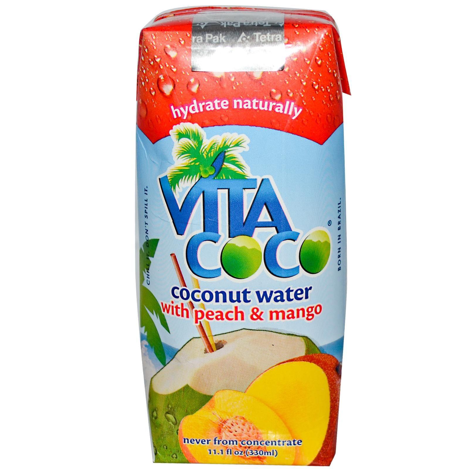 Vita Coco, Coconut Water with Peach & Mango, 11.1 fl oz (330 ml) - iHerb.com. Bruk gjerne rabattkoden min (CEC956) hvis du vil handle på iHerb for første gang. Da får du $5 i rabatt på din første ordre (eller $10 om du handler for over $40), og jeg blir kjempeglad, siden jeg får poeng som jeg kan handle for på iHerb. :-)