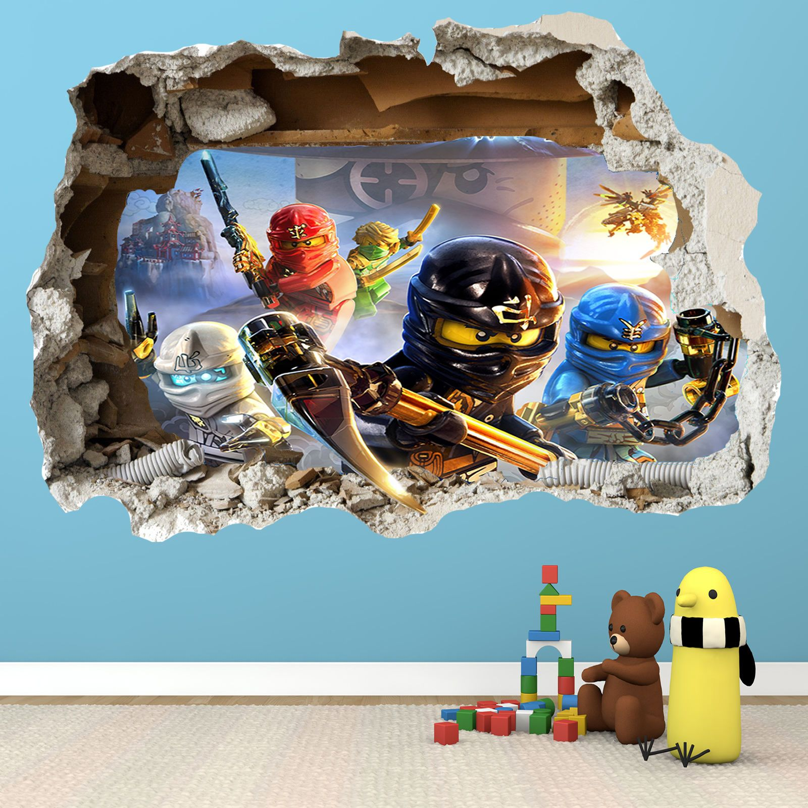Lego ninjago smashed wall sticker 3d bedroom boys girls for Bedroom 3d wall stickers