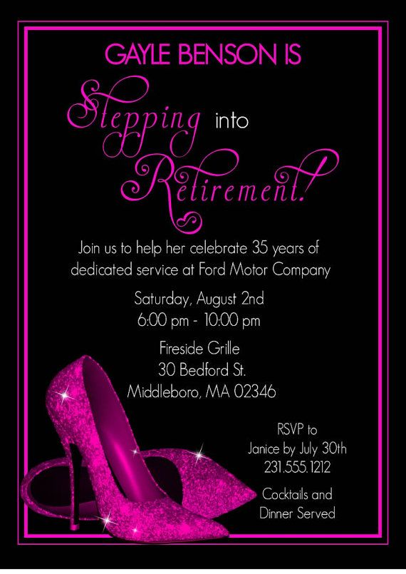 Pink Glitter Shoes Retirement Party Invitation Printable – Shoe Party Invitations
