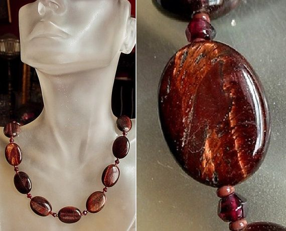Red Tiger Eye Necklace  20lg 51cm  Sterling Silver by camexinc
