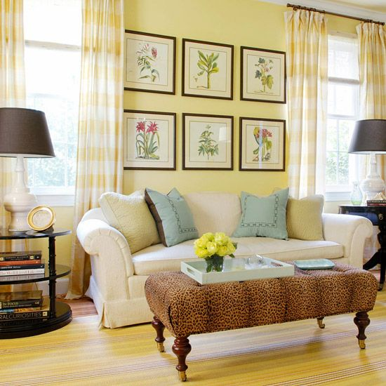 Decorating Ideas for a Yellow Living Room | Black lamp shades, Black ...