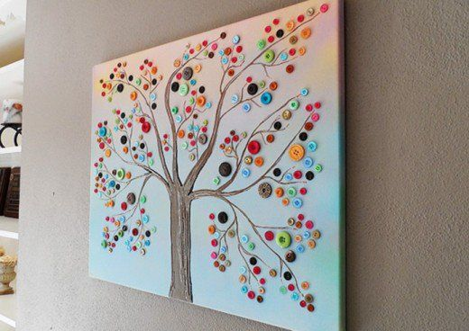 48 Excellent Button Craft Ideas Diy Crafts For Home Decor Diy Home Crafts Canvas Crafts