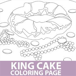 mardi gras king cake coloring page