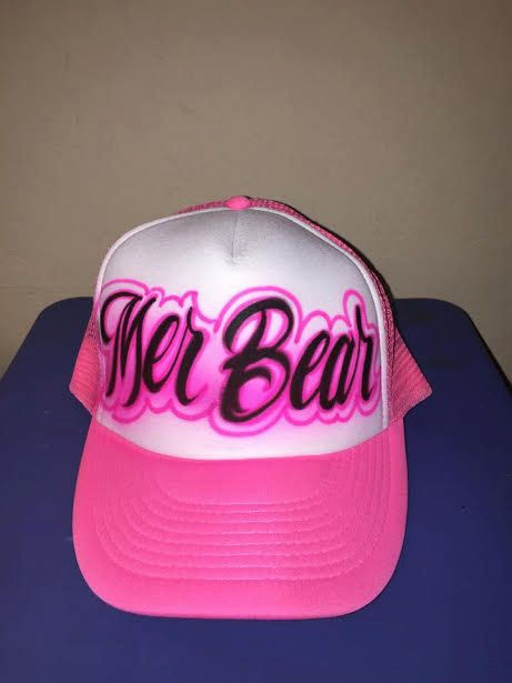 a4eac4f10a556 Airbrushed Name design trucker hat by Giftsplus2007 on Etsy