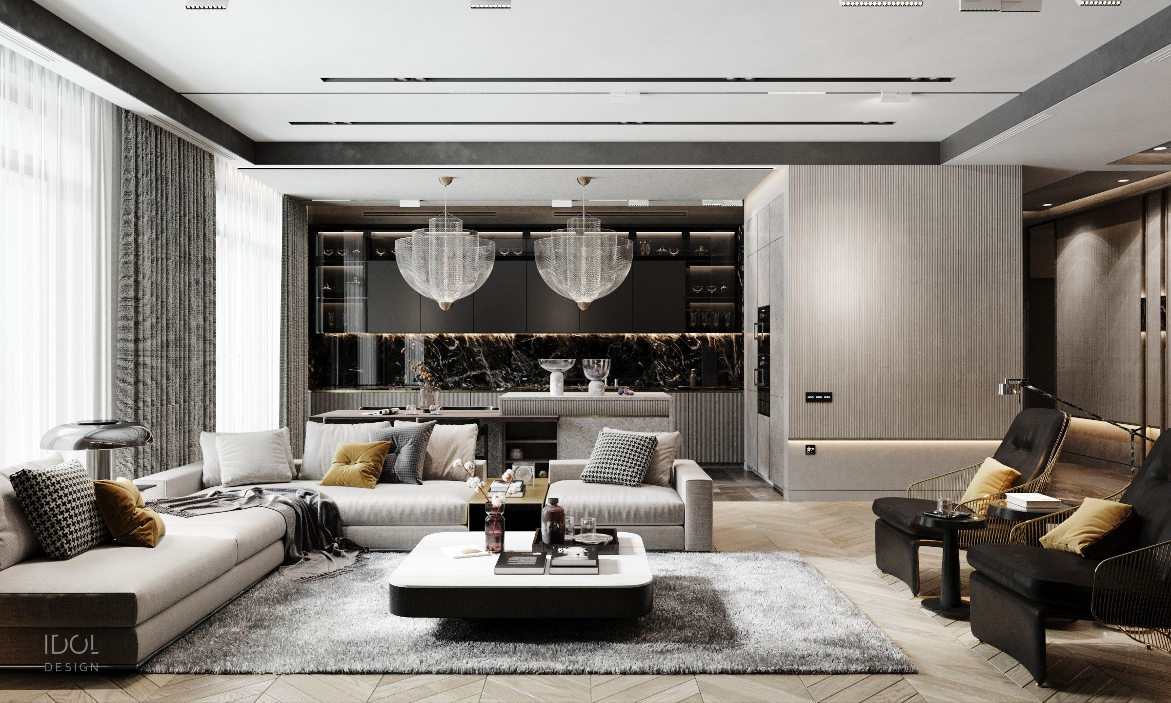 Luxurious Modern Kitchen Living Room In Silver Tones From Idol