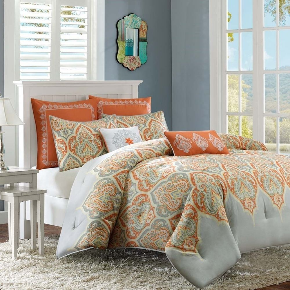 Luxury Orange & Grey Updated Paisley Comforter Set AND