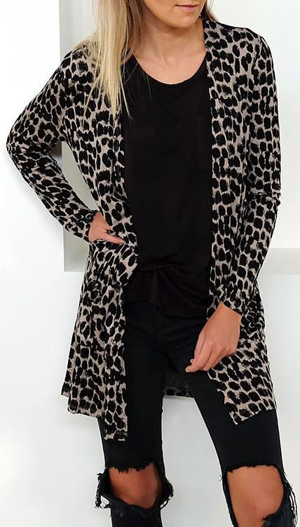 72e2fbebbdc Only  38.99!Chicnico Casual Leopard Printed Cardigan fall fashion ...