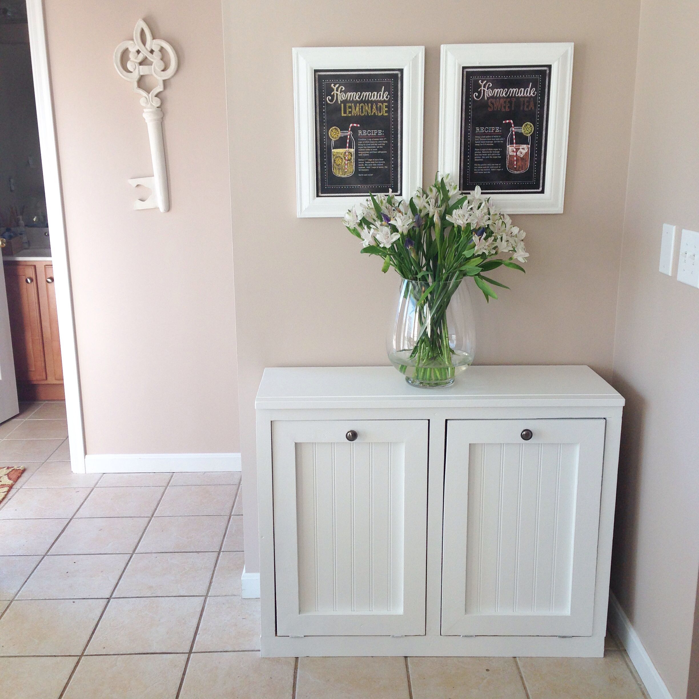 ana white wood tilt out trash and recycling bin that my husband made http ana. Black Bedroom Furniture Sets. Home Design Ideas