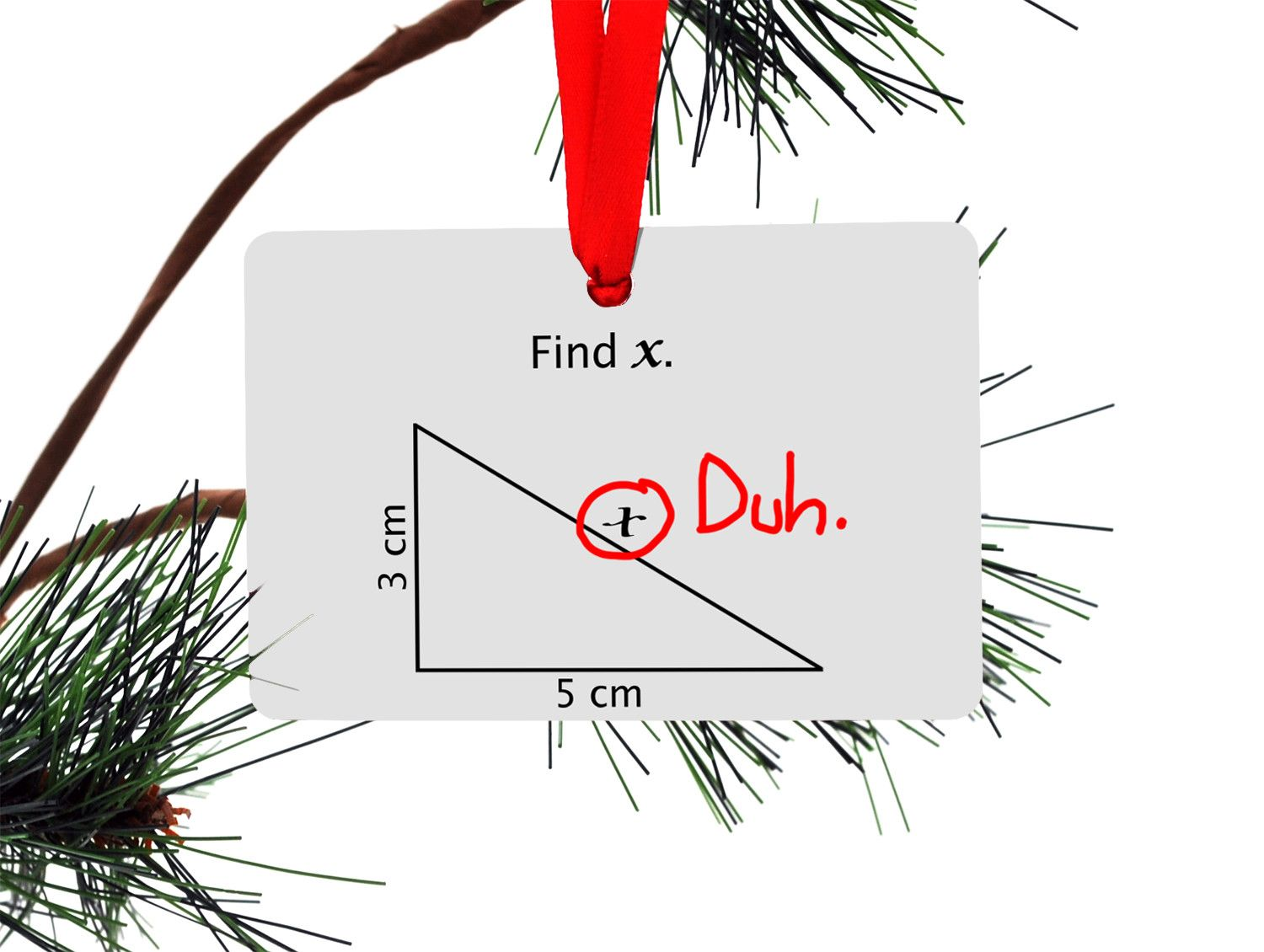 Funny Christmas Tree Quotes: Math Find X Funny Christmas Tree Ornament