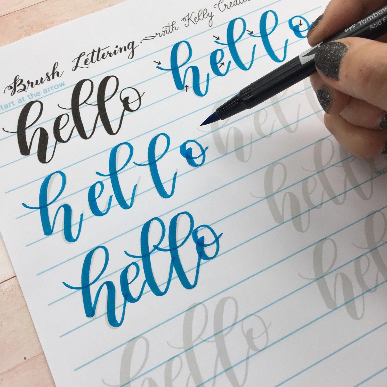 Bouncy Brush Lettering Lowercase Alphabet Drills For Large Brush Pens Hand Lettering Worksheet Brush Lettering Worksheet Brush Lettering [ 1500 x 1500 Pixel ]