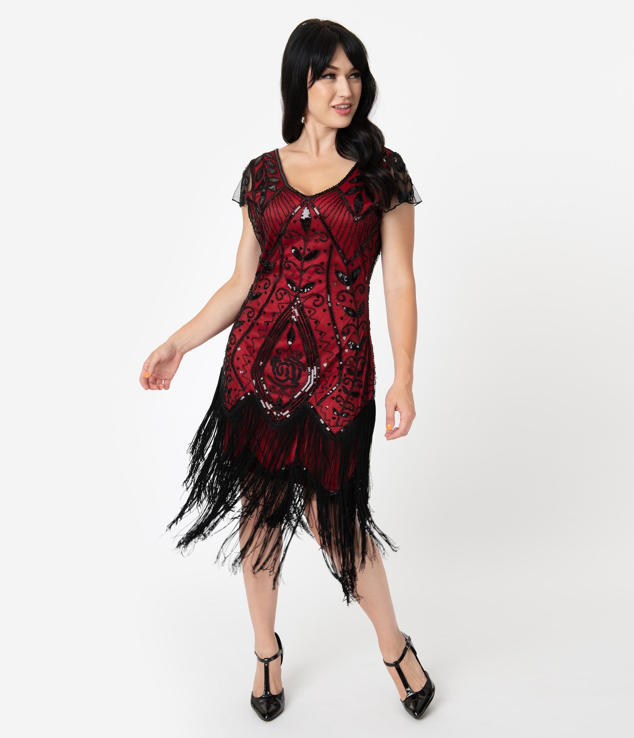 Unique Vintage 1920s Red Black Beaded Noele Flapper Dress Red Flapper Dress 1920s Flapper Dress Flapper Dress [ 2550 x 2190 Pixel ]
