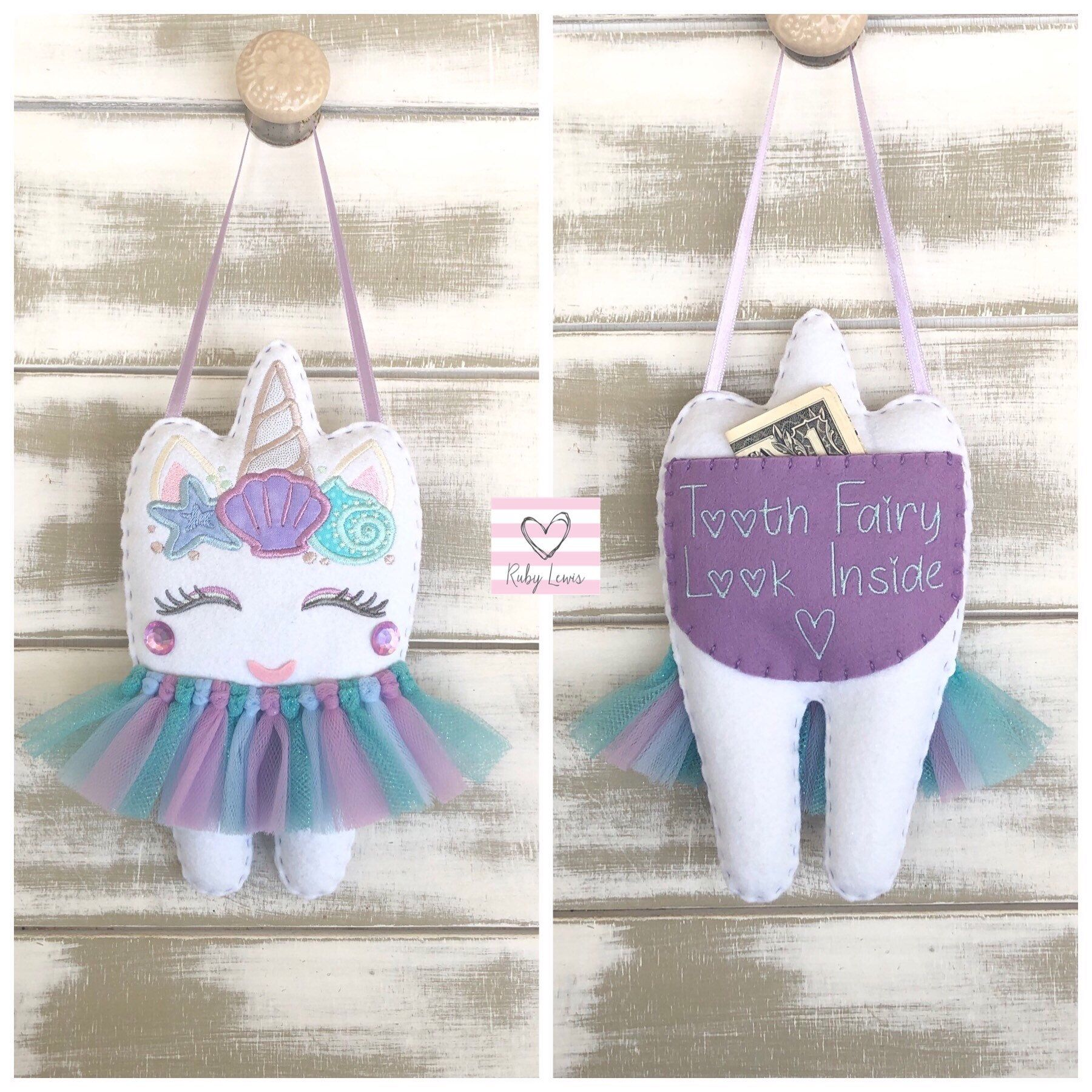 Personalized Mermaid Unicorn Tooth Fairy Pillow with Gift Pocket. Ideal Gift Idea for Girls #toothfairyideas