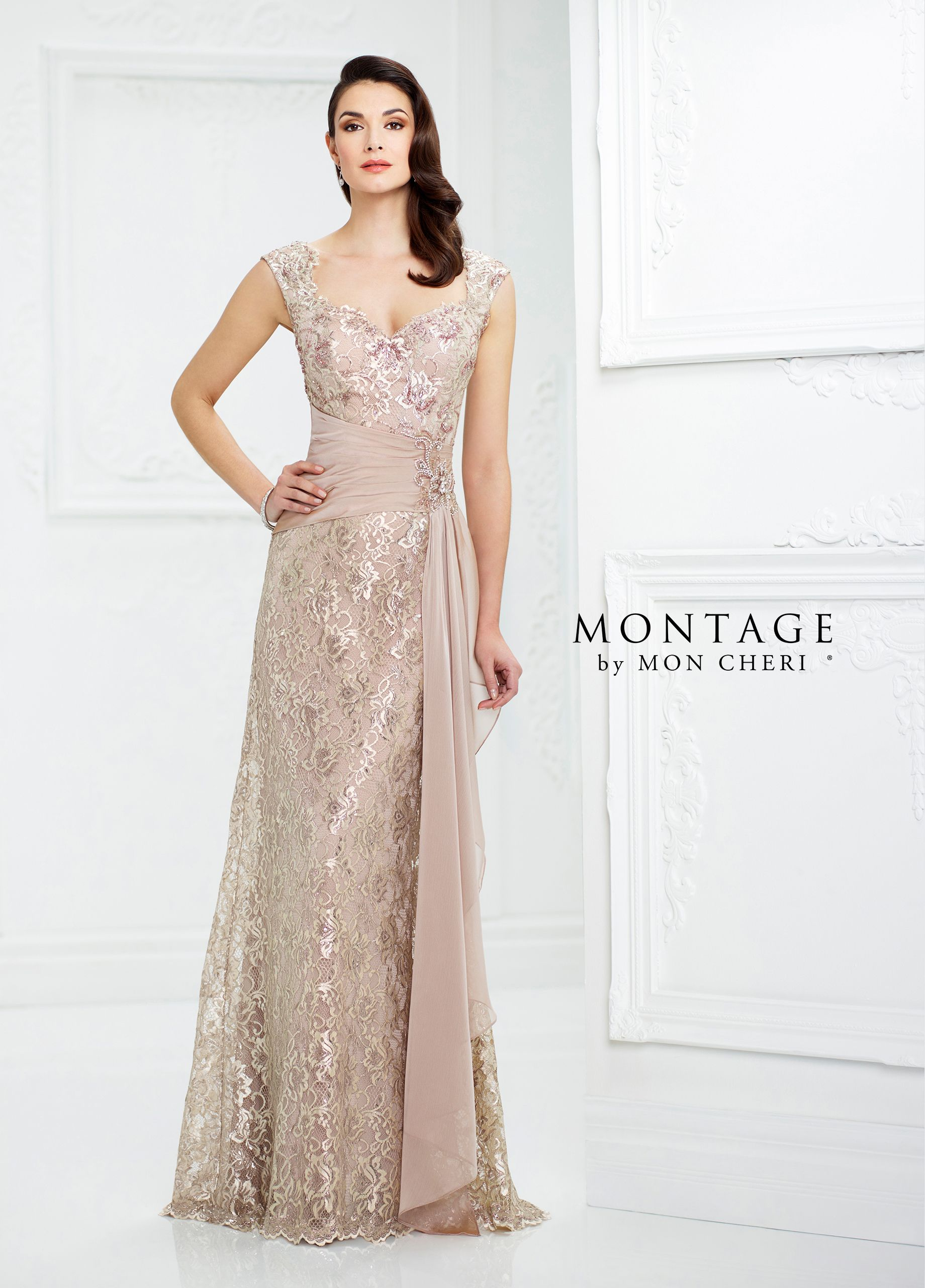 0d5478eac74a4 217954 - Sleeveless metallic lace and two-tone chiffon slim A-line gown  with wide shoulder straps, Queen Anne neckline, V-back, side draped chiffon  natural ...