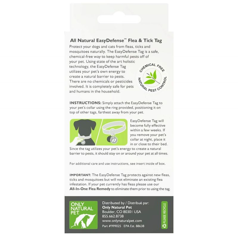 Only Natural Pet Easy Defense Flea & Tick Tag For Dogs