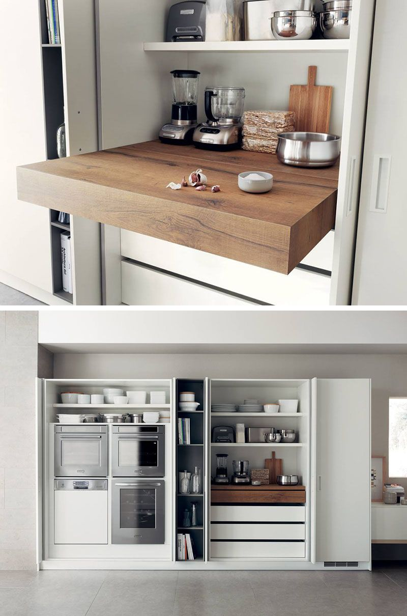 Kitchen Design Idea - Pull-Out Counters | Kitchen design, Compact ...