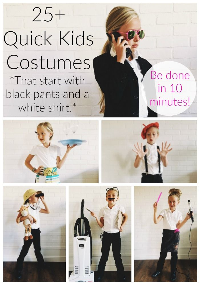 More Than 25 Easy Costumes To Make Using Black Pants And A White Shirt Simple Simon And Company Easy Costumes Easy Costumes To Make Fancy Dress For Kids