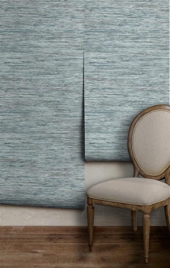Faux Grasscloth / Spa Blue • Easy to Apply Removab