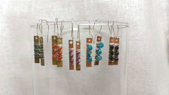 Letterpress Spacer Plates, Sterling Silver and Semi-Precious Gemstone Earrings - listing for one pair - copper, brass