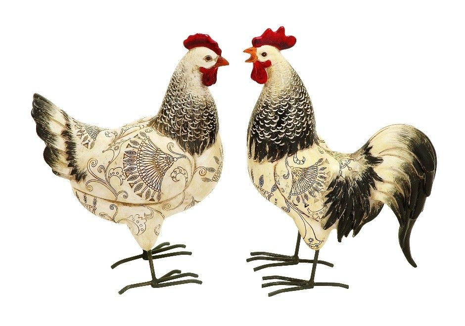Set Of Large Polystone Rooster Chicken Statues Kitchen Patio D |lamp |  Lighting, Furniture