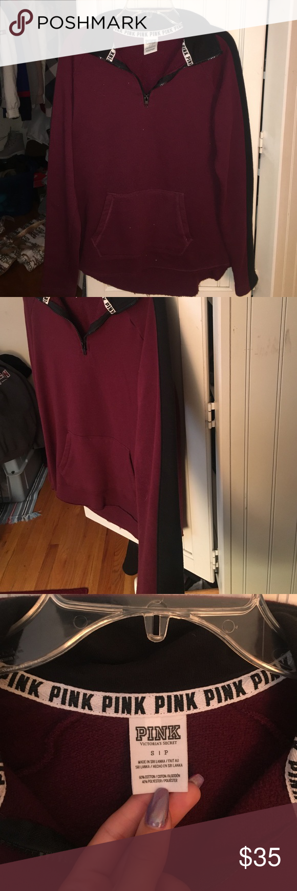 NWOT VS PINK 1/4 zip-up sweatshirt Super cute burgundy sweatshirt featuring a 1/4 zip, front pouch, and black lines down the outer sleeves. Also says PINK across collar when zipped up. PERFECT condition and has never been worn PINK Victoria's Secret Tops Sweatshirts & Hoodies