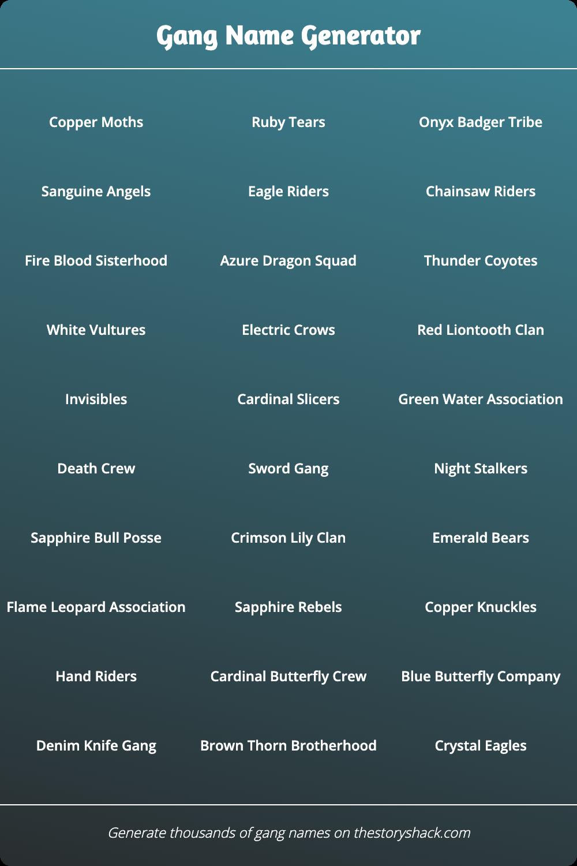 Gang Name Generator Name Generator Best Character Names Names