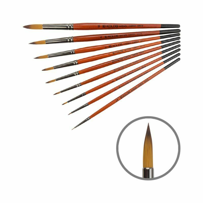 Quality Artist Brushes Synthetic Oval Brushes Carrot 1097FR Short Handle KOLOS