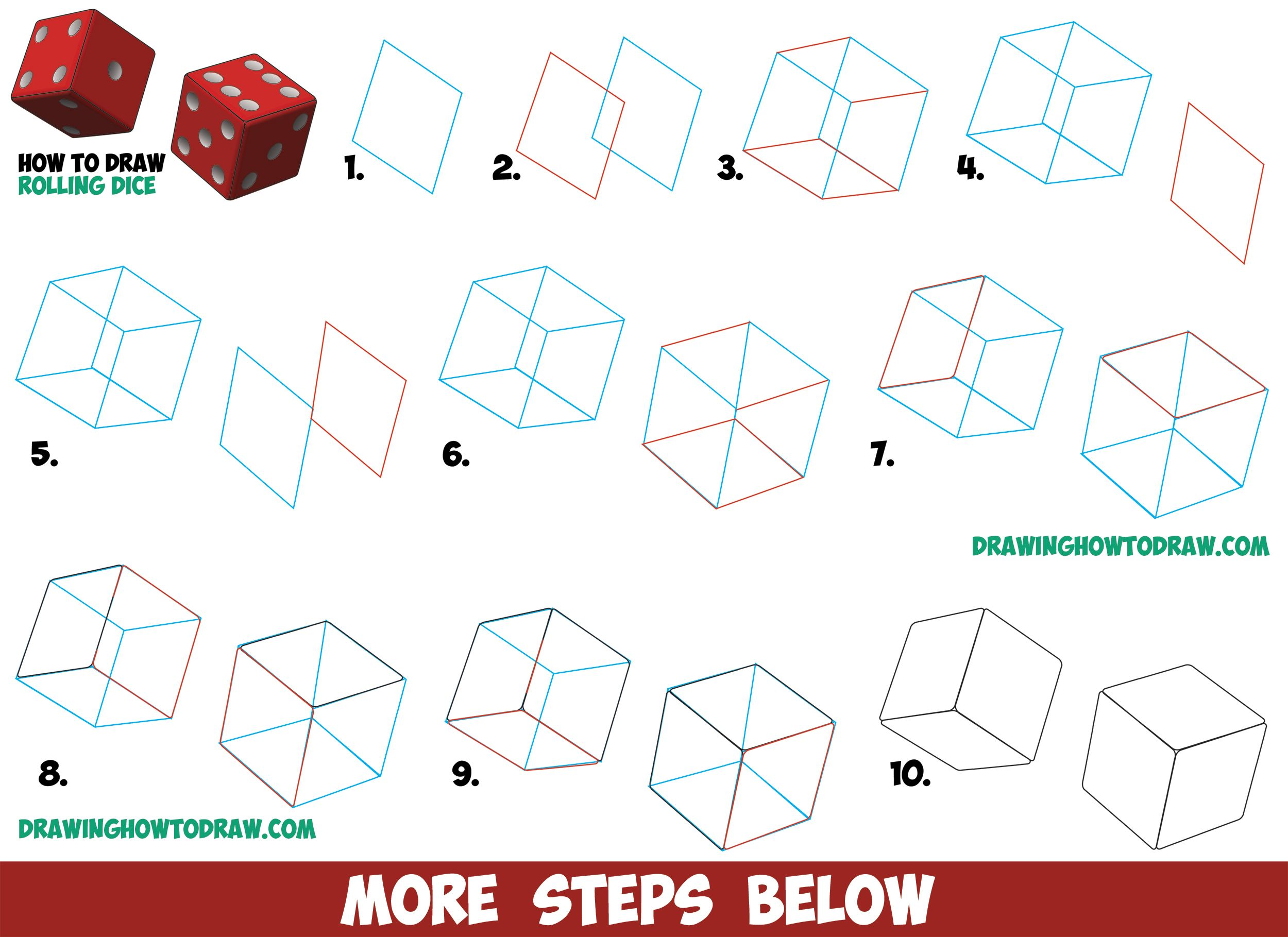 How to draw dice rolling or being rolled with easy step by for How to draw things step by step