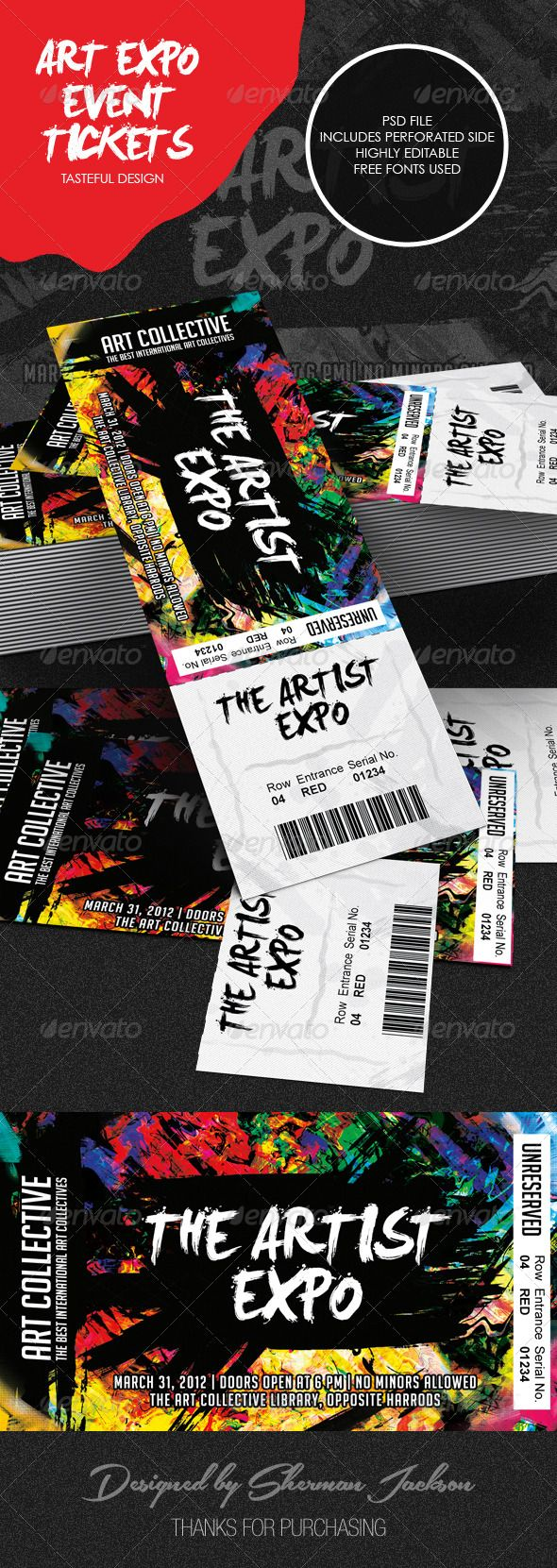 Art Event Ticket Template Ticket Template Event Ticket And Template - Event ticket template photoshop