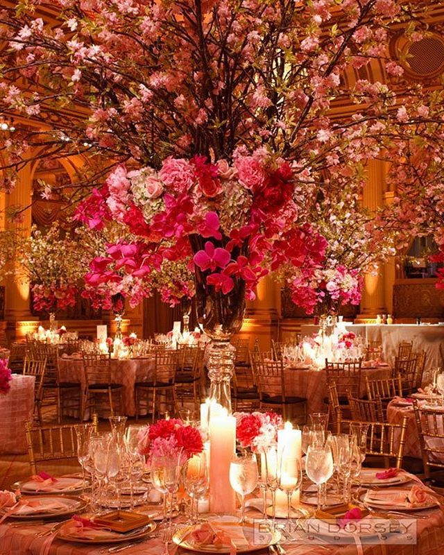 Tall Cherry Blossom Centerpieces And Romantic Orchids Are The Focal