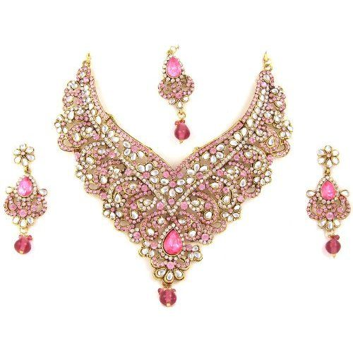 Prom Jewelry Set Pink Rhinestone Cz Gold Tone Necklace with Earring