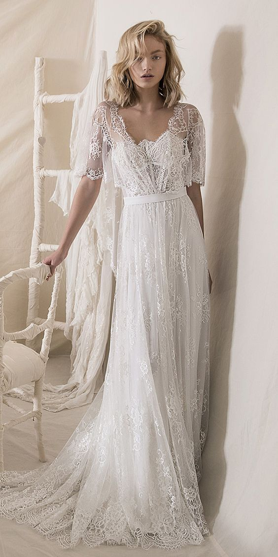 A Line Half Sleeves Lace Boho Wedding Dress In 2020 Lace
