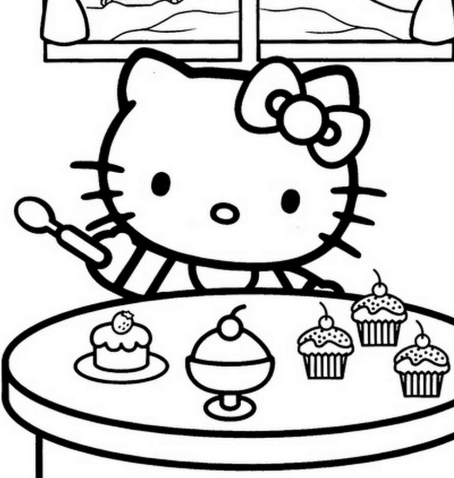Hello Kitty Preparing To Eat Cake Coloring Pages For Kids Printable