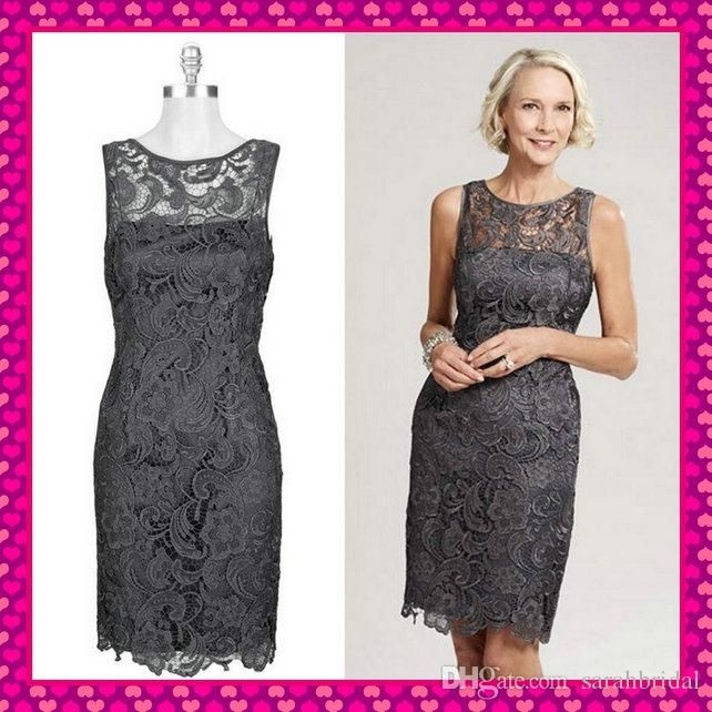 Outdoor Wedding Mother Of The Bride Dresses: Short Sleeveless Sheer Crew Neck Gray Lace Mother Of The