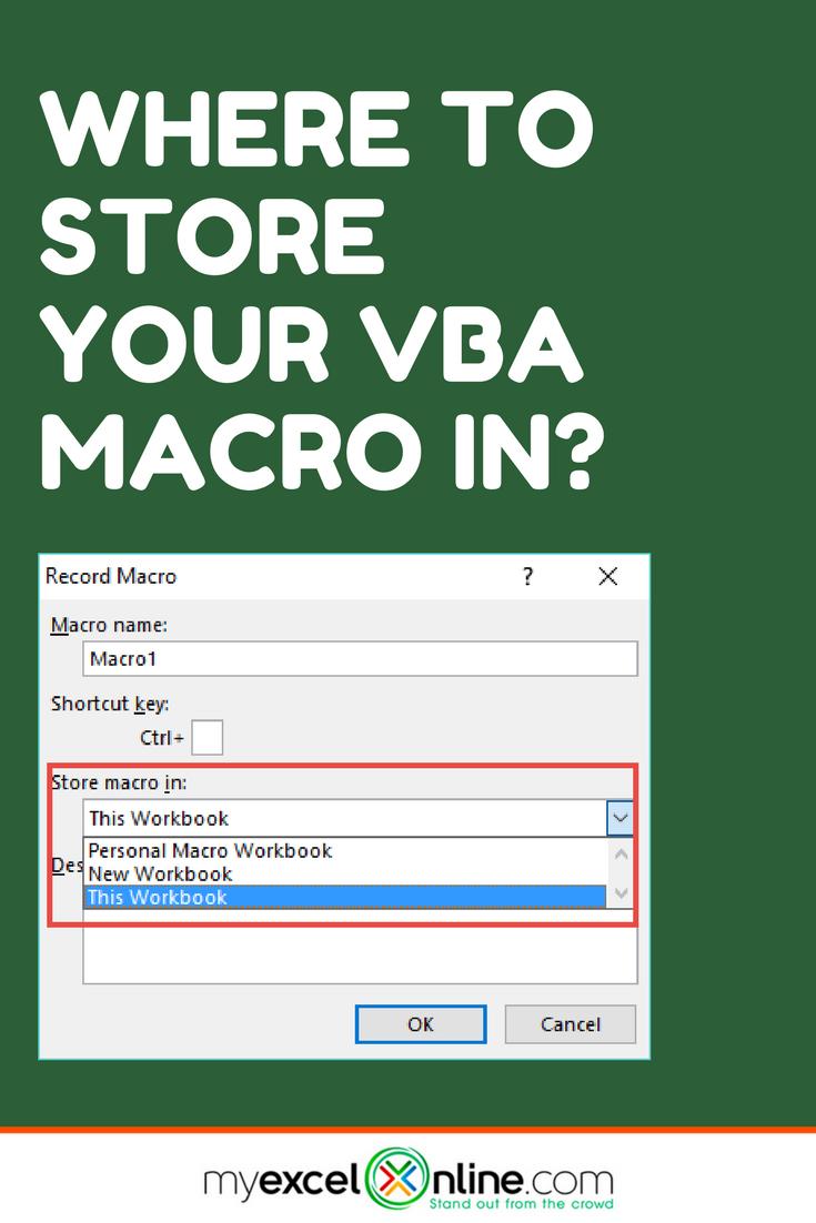 Where To Store Your Vba Macro In This Workbook Or Personal Macro Workbook Myexcelonline Budget Spreadsheet Learning Microsoft Workbook